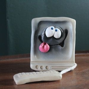 vtg 90s whimsical computer pen holder sculpture